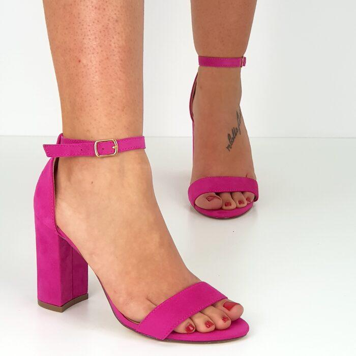 sandalo tacco largo camoscio